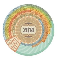 2014 Round Calendar vector image