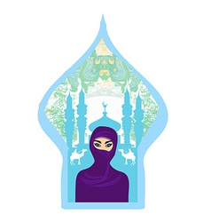 Portrait of a Arabian woman in hijab with desert vector image