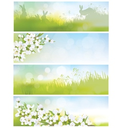 spring banners nature vector image vector image