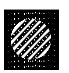 The white circle with stripes on a black rectangle vector image
