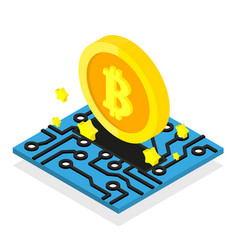 bitcoin coin mining cryptocurrency isometric vector image