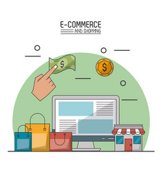 colorful poster in white background of e-commerce vector image