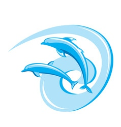 ornate dolphins background vector image vector image