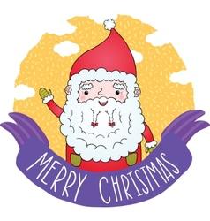 PrintCute Merry Christmas ribbon with Santa Claus vector image