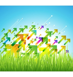 Spring arrow background with green grass vector image