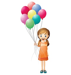 A girl holding eight colorful balloons vector