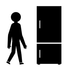 a man at the fridge with drinks element of shop vector image