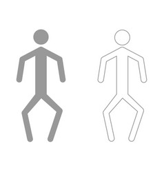 A man with crooked legs the grey set icon vector