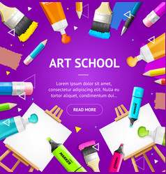 art school concept banner card with realistic 3d vector image