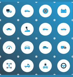 automobile icons colored set with chronometer vector image