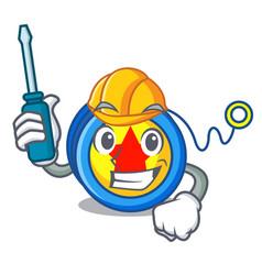 Automotive yoyo mascot cartoon style vector