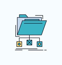 backup data files folder network flat icon green vector image