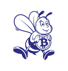 bee miner keep gold bitcoin vector image