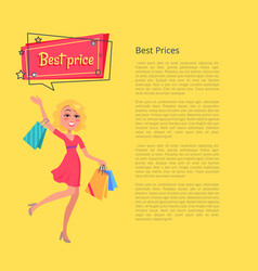 best prices poster with place for text and woman vector image