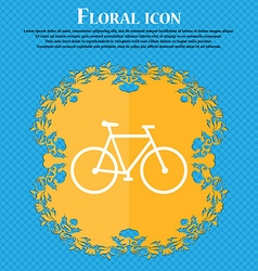 bicycle icon Floral flat design on a blue abstract vector image vector image