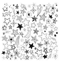 big set of hand drawn doodle stars black and white vector image