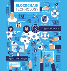 bitcoin blockchain cryptocurrency and computer vector image