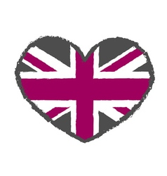 British flag t shirt typography heart vector