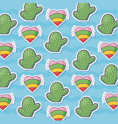 Cactus and hearts background vector
