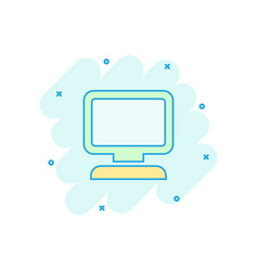 Cartoon computer icon in comic style monitor sign vector