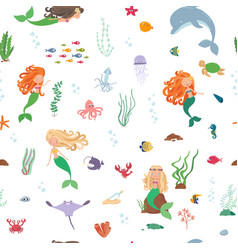 cartoon underwater world seamless pattern vector image