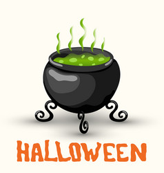 cartoon witch pot with poison isolated on white vector image