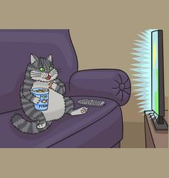 Cat watching tv vector
