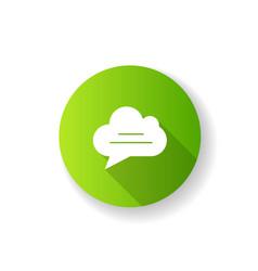 Chat cloud green flat design long shadow glyph vector