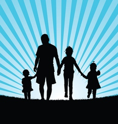 Children with dad in nature vector