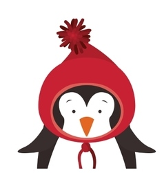 Christmas penguin icon vector