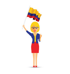 colombia flag waving woman vector image