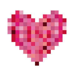 colorful heart shape pixelated design vector image