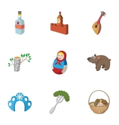 Country Russia icons set cartoon style vector image