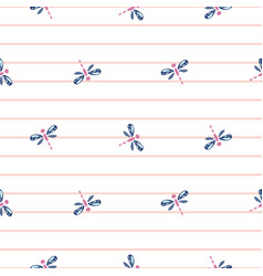 Cute dragonfly seamless pattern light pink vector