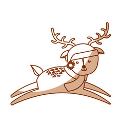 Cute shadow christmas deer cartoon vector