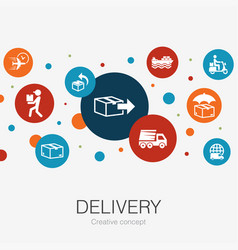 Delivery trendy circle template with simple icons vector