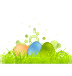 Easter egg background with green grass vector