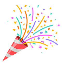 Exploding party popper on white background vector