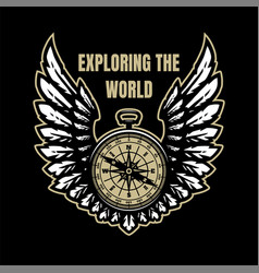 Exploring world compass and wings sign vector