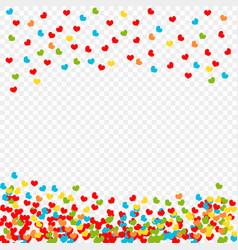falling multicolored hearts petals pattern vector image