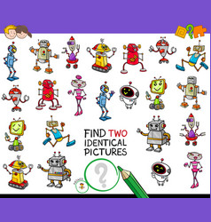 find two identical robots educational game vector image