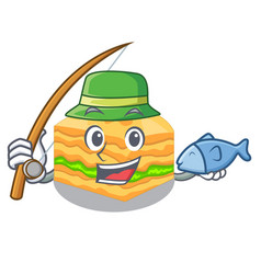 fishing baklava in a the character bowl vector image