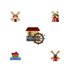 Flat icon energy set of wind energy wheel power vector
