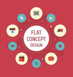 Flat icons case bus present and other vector