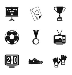 Football things icons set simple style vector