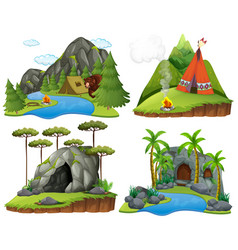Four scenes with bear at campsite vector