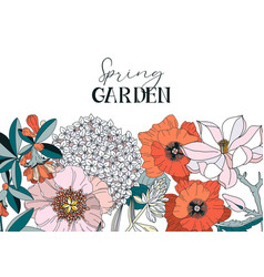 frame with spring and summer flowers - poppy vector image