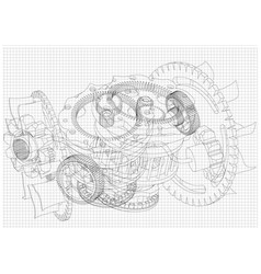 gear mechanism on white vector image