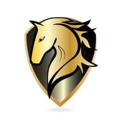 golden horse emblem icon vector image