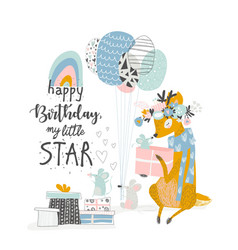 greeting birthday card with cute deer and mouses vector image